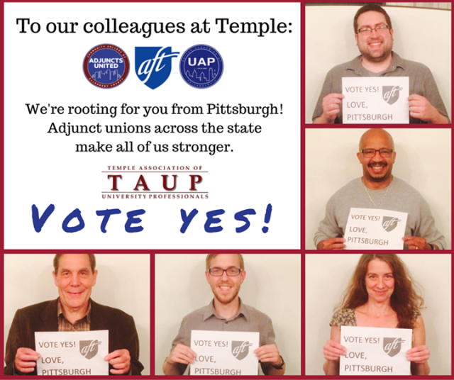 Part-time faculty with CCAC Adjuncts United in Pittsburgh. An overwhelming number of adjuncts at CCAC voted to join the full-time faculty union earlier this year.