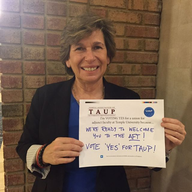 President Randi Weingarten is ready to welcome Temple adjuncts to AFT!